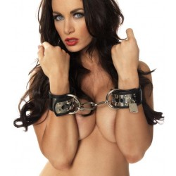 Leather Wrist Cuffs With Metal And Padlocks